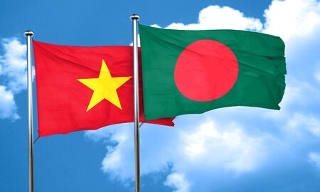 vietnam flag: Vietnam flag with Bangladesh flag, 3D rendering