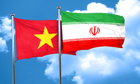 vietnam flag: Vietnam flag with Iran flag, 3D rendering