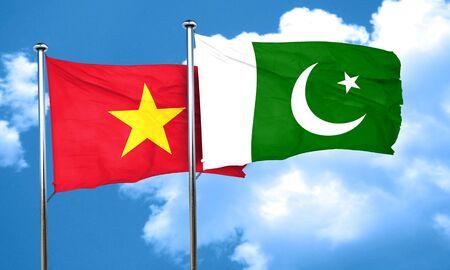 pakistan flag: Vietnam flag with Pakistan flag, 3D rendering Stock Photo
