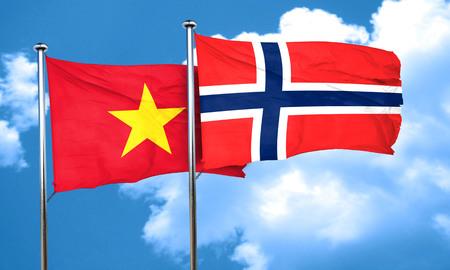 norway: Vietnam flag with Norway flag, 3D rendering