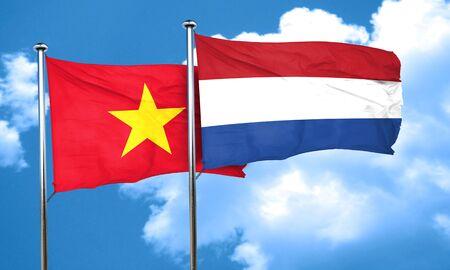 flag of netherlands: Vietnam flag with Netherlands flag, 3D rendering