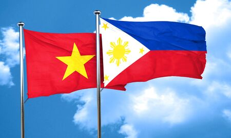philippino: Vietnam flag with Philippines flag, 3D rendering