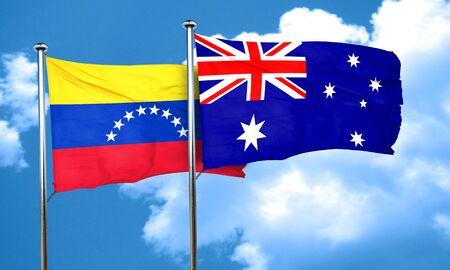 venezuela flag: bandera de Venezuela con la bandera de Australia, 3D