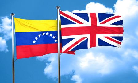 bandera de venezuela: bandera de Venezuela con la bandera de Gran Breta�a, 3D