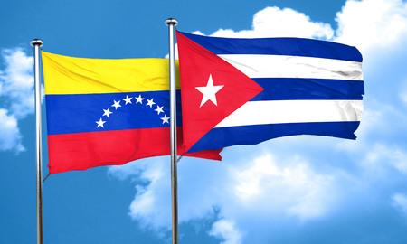 bandera de venezuela: bandera de Venezuela con la bandera de Cuba, 3D Foto de archivo