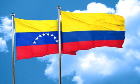 bandera de venezuela: bandera de Venezuela con la bandera de Colombia, 3D
