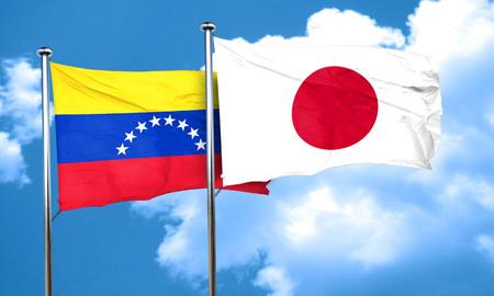 bandera de venezuela: bandera de Venezuela con la bandera de Jap�n, 3D