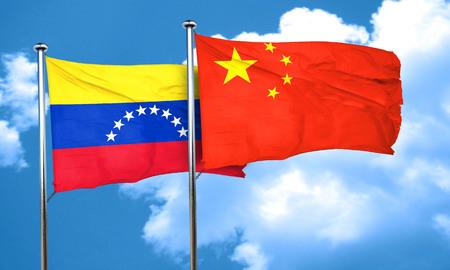 bandera de venezuela: bandera de Venezuela con la bandera de China, 3D Foto de archivo