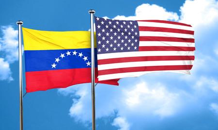 bandera de venezuela: bandera de Venezuela con la bandera americana, 3D