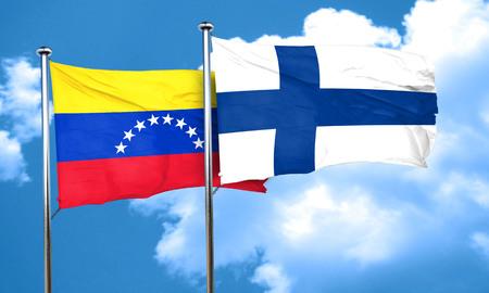 venezuela flag: bandera de Venezuela con la bandera de Finlandia, 3D Foto de archivo
