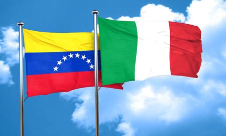 bandera de venezuela: bandera de Venezuela con la bandera de Italia, 3D Foto de archivo