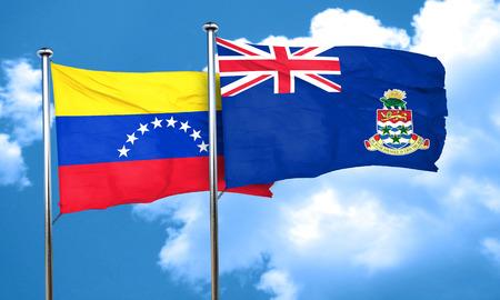 bandera de venezuela: bandera de Venezuela con la bandera de las islas Cayman, 3D
