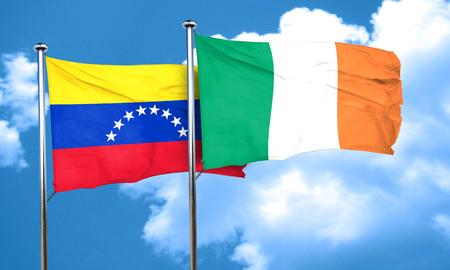 bandera de venezuela: bandera de Venezuela con la bandera de Irlanda, 3D Foto de archivo