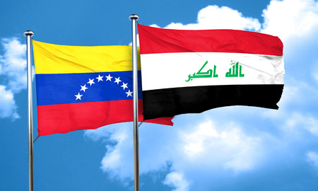 bandera de venezuela: Venezuela flag with Iraq flag, 3D rendering