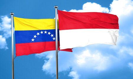 bandera de venezuela: bandera de Venezuela con la bandera de Indonesia, 3D