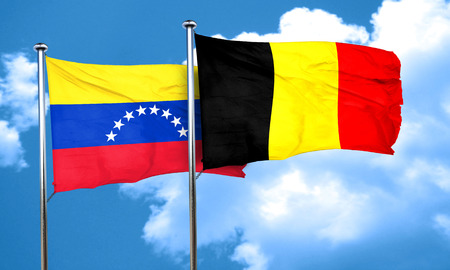 venezuela flag: bandera de Venezuela con la bandera de B�lgica, 3D