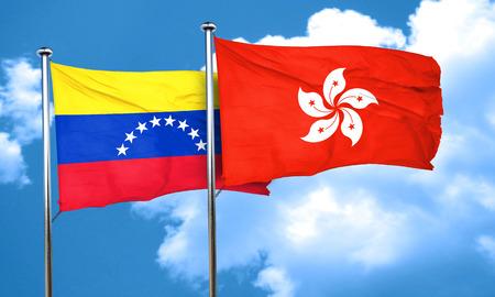 bandera de venezuela: bandera de Venezuela con la bandera de Hong Kong, 3D