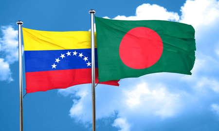 bandera de venezuela: bandera de Venezuela con la bandera de Bangladesh, 3D