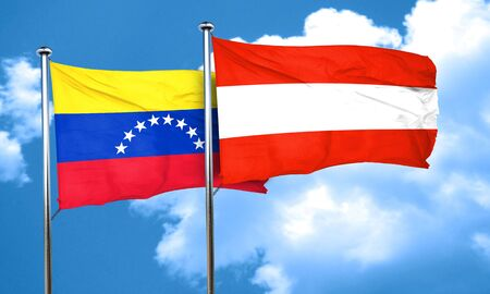 venezuela: Venezuela flag with Austria flag, 3D rendering Stock Photo