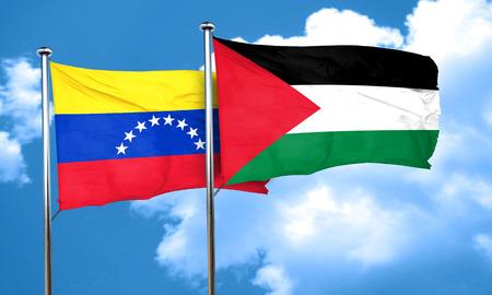 bandera de venezuela: bandera de Venezuela con la bandera de Palestina, 3D