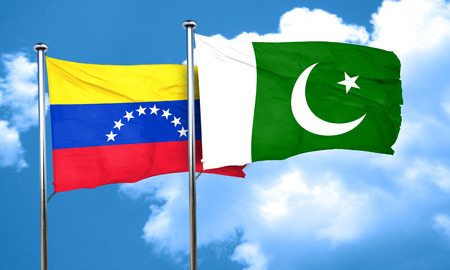 bandera de venezuela: bandera de Venezuela con la bandera de Pakist�n, 3D