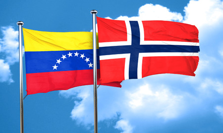 bandera de venezuela: bandera de Venezuela con la bandera de Noruega, 3D Foto de archivo