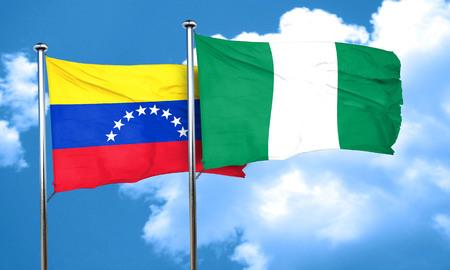 bandera de venezuela: Venezuela flag with Nigeria flag, 3D rendering Foto de archivo