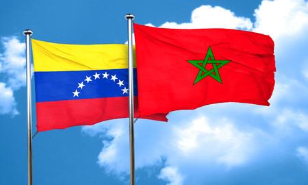 venezuela flag: bandera de Venezuela con la bandera de Marruecos, 3D Foto de archivo