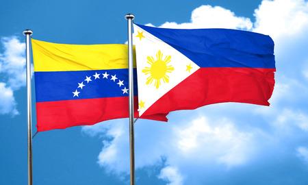venezuela flag: bandera de Venezuela con la bandera de Filipinas, 3D