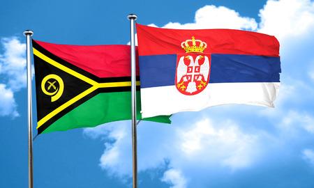 serbia flag: Vanatu flag with Serbia flag, 3D rendering