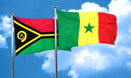 senegal: Vanatu flag with Senegal flag, 3D rendering Stock Photo