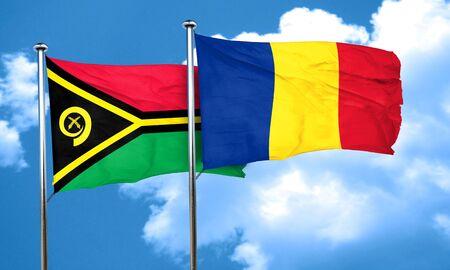 romania flag: Vanatu flag with Romania flag, 3D rendering