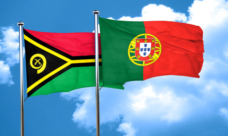 portugal flag: Vanatu flag with Portugal flag, 3D rendering