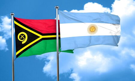 argentinian flag: Vanatu flag with Argentine flag, 3D rendering Stock Photo