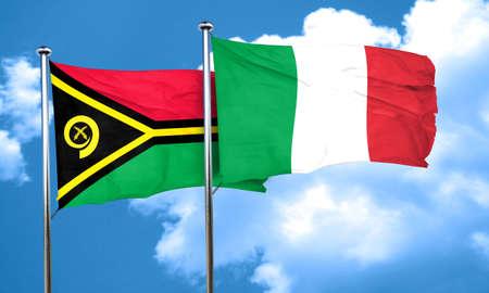 italian politics: Vanatu flag with Italy flag, 3D rendering