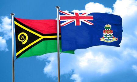 cayman: Vanatu flag with Cayman islands flag, 3D rendering