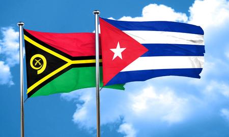 bandera cuba: Vanatu flag with cuba flag, 3D rendering Foto de archivo