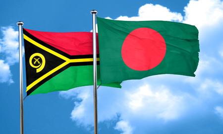 bangladesh: Vanatu flag with Bangladesh flag, 3D rendering