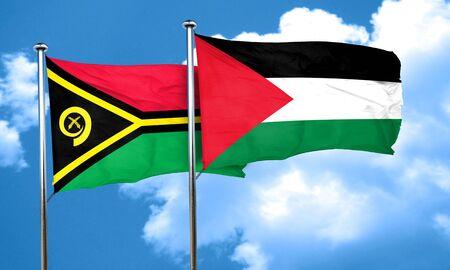 palestine: Vanatu flag with Palestine flag, 3D rendering
