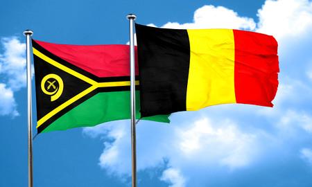 belgium flag: Vanatu flag with Belgium flag, 3D rendering Stock Photo