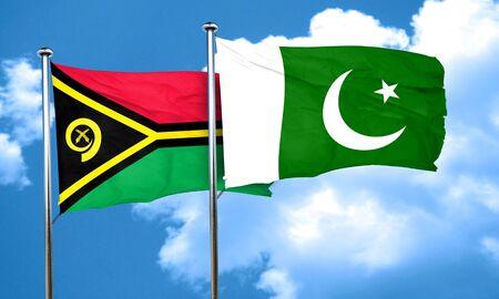 flag of pakistan: Vanatu flag with Pakistan flag, 3D rendering