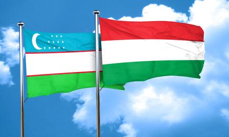 uzbekistan: Uzbekistan flag with Hungary flag, 3D rendering