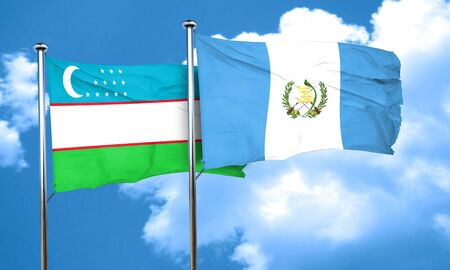 bandera de guatemala: bandera de Uzbekistán con la bandera de Guatemala, 3D