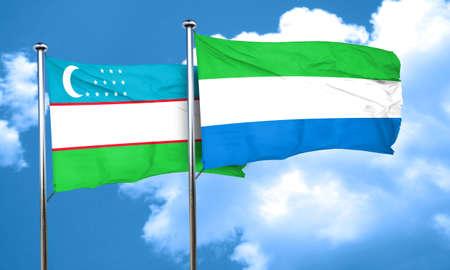 sierra: Uzbekistan flag with Sierra Leone flag, 3D rendering