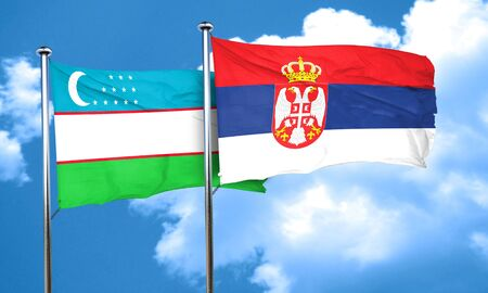 uzbekistan: Uzbekistan flag with Serbia flag, 3D rendering Stock Photo