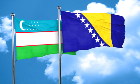 bosnia: Uzbekistan flag with Bosnia and Herzegovina flag, 3D rendering Stock Photo