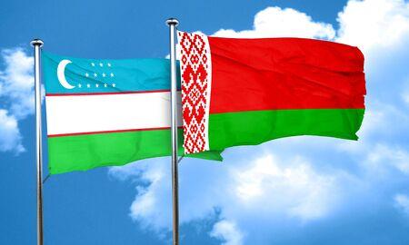uzbekistan: Uzbekistan flag with Belarus flag, 3D rendering