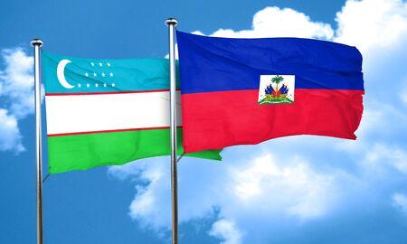 haiti: Uzbekistan flag with Haiti flag, 3D rendering Stock Photo