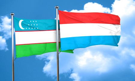 uzbekistan: Uzbekistan flag with Luxembourg flag, 3D rendering