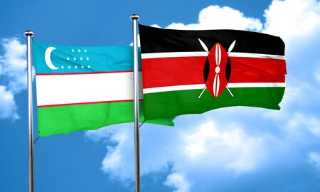 kenya: Uzbekistan flag with Kenya flag, 3D rendering